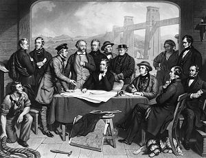 John Lucas (painter) - Image: Conference of Engineers at the Menai Straits Preparatory to Floating one of the Tubes of the Britannia Bridge by John Lucas
