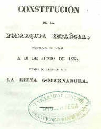 Spanish Constitution of 1837 - Cover of the Spanish Constitution of 1837.