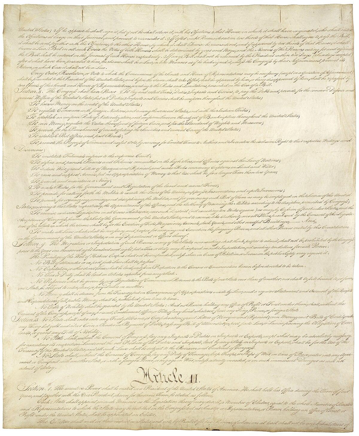 Artículo II de la Constitución de los Estados Unidos - Wikipedia, la ...