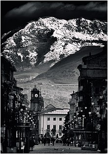 Avellino - View of Corso Vittorio Emanuele and the clocktower.