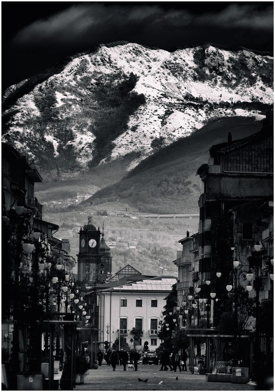 Avellino - View of Corso Vittorio Emanuele and the clocktower.