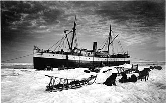 USRC Thomas Corwin (1876) - Corwin unloading on sea ice at Nome, June 1, 1907; F.H. Nowell