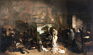 <i>The Painters Studio</i> painting by Gustave Courbet