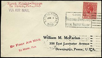 Cancellation (mail) - 1929 machine cancellation used to cancel 1d stamp on first flight cover from Nassau to Miami