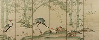 Ogata Kōrin - Image: Cranes, Pines, and Bamboo I