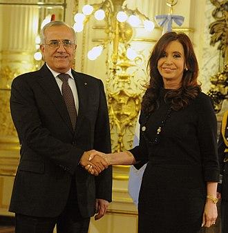 Argentina–Lebanon relations - Argentine President Cristina Fernández de Kirchner greeting Lebanese President Michel Sleiman in Buenos Aires, 2012.