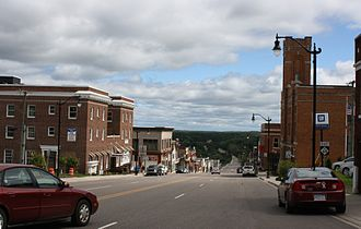 Crystal Falls, Michigan - Looking east at downtown Crystal Falls