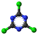 Ball-and-stick model of the cyanuric chloride molecule