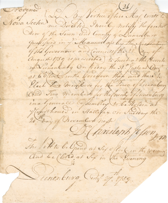 Writ of election - Election writ issued by the provost marshal to freeholders of Lunenburg, Nova Scotia, 1759