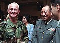 DA-SD-04-00655 Incoming Commander, Brigadier General (BGEN) Thomas G. Miller (left), meets with General (GEN) Masahiro Nakatani, Chief of Staff Japan Ground Self Defense Force.jpg