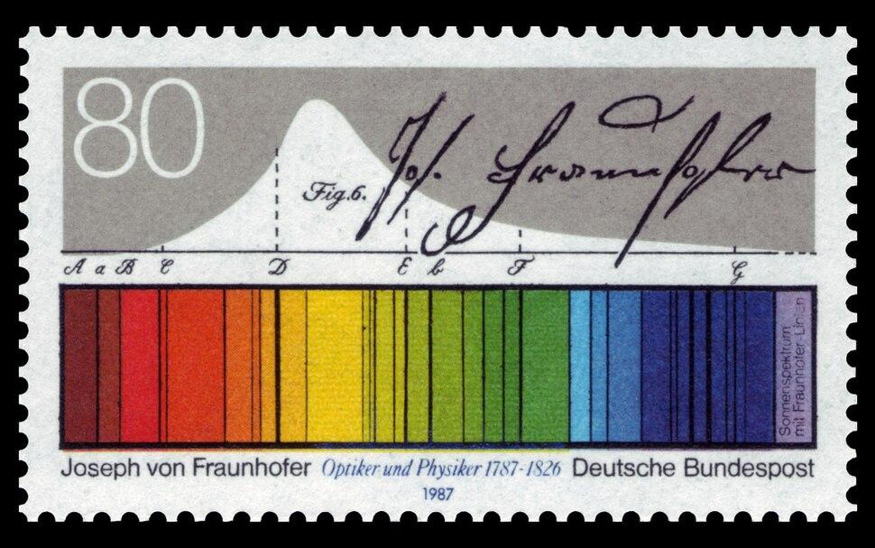 DBP 1987 1313 Joseph von Fraunhofer, Sonnenspektrum