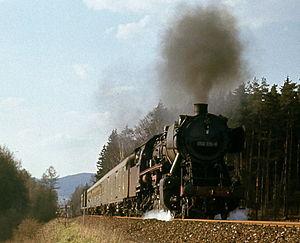 DRB Class 50 - DB No. 050 915-8 on a Hof-Marktredwitz passenger train, Easter 1972
