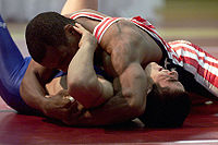 The wrestler on top obtains the fall in this freestyle wrestling match.