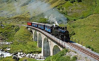 Furka Cogwheel Steam Railway - At the Steinstafel bridge