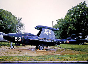De Havilland Sea Venom - French-built Aquilon 203 displayed at Lorient South Brittany Airport in 1973