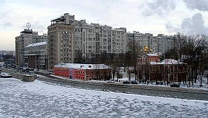 Balchug - House on Embankment, 1927-1931, as seen from Patriarshy Bridge. Averky Kirillov estate, right