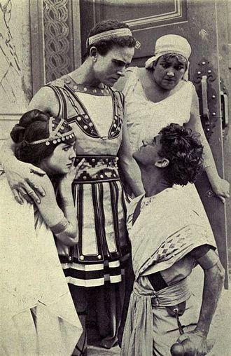 Duke Worne - Still from Damon and Pythias (1914) with Ann Little, Herbert Rawlinson, Duke Worne, and an unidentified actress