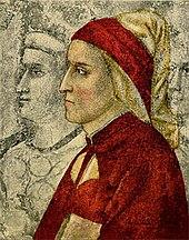 Ritratto di Giotto di Dante Alighieri di profilo rivolto a sinistra con mantello e berretto rossi