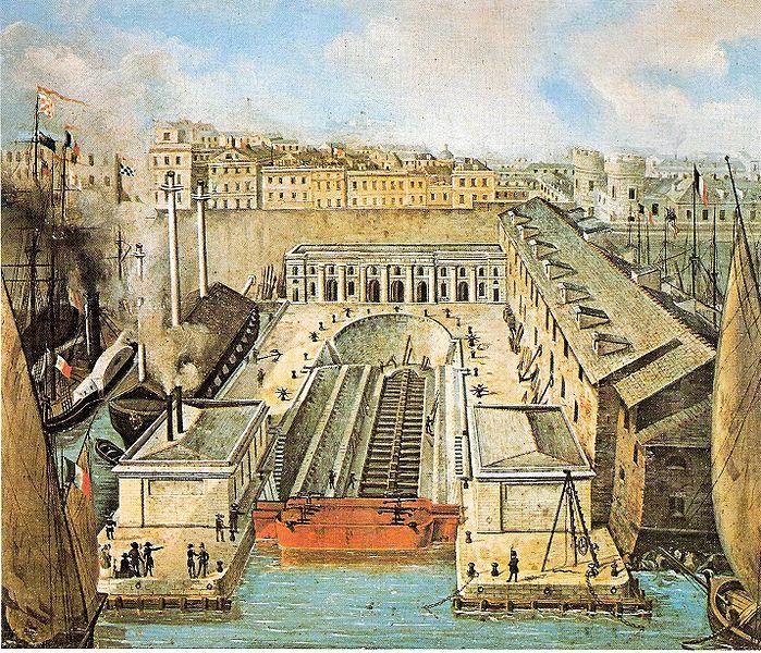 File:Darsena di Genova-bacino di carenaggio del 1851.jpg