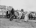 David Dubinsky, Governor Munoz, and an unidentified man break ground for the ILGWU - IBEC Santiago Iglesias housing project in Puerto Rico, 1957.jpg