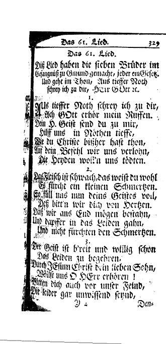 Amish - A scan of the historical document Diß Lied haben die sieben Brüder im Gefängnüß zu Gmünd gemacht