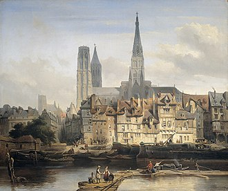 François d'Agincourt - An 1839 painting of The Quay de Paris in Rouen. The Rouen Cathedral, where d'Agincourt worked for 52 years, is visible in the background.