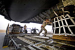 Defense.gov News Photo 120328-F-FA171-047 - A U.S. Air Force airman pushes a pallet of jet fuel onto a C-17 Globemaster III aircraft at a location in Southwest Asia on March 28, 2012.jpg