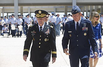 Michael C. Gould - Lt. Gen. Gould hosts Chairman of the Joint Chiefs of Staff Gen. Martin E. Dempsey at the Air Force Academy in April 2012.