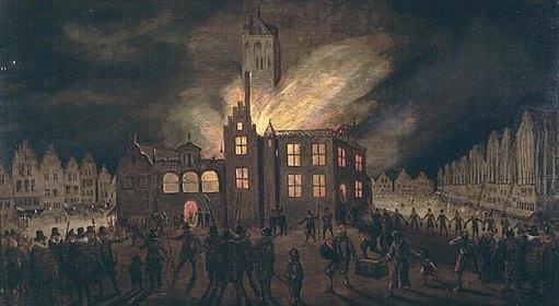 Delft - De brand van het stadhuis op 4 maart 1618