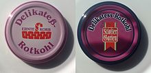 The german sign delicious red cabbage left cap is with old