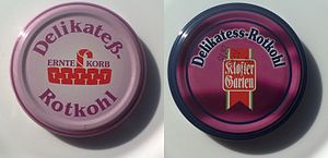 "German orthography - The German sign ""Delicacy / red cabbage."" Left cap is with old orthography, right with new."