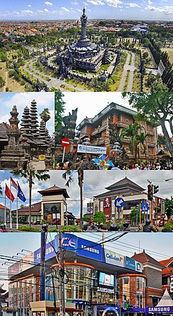 From top, left to right: Bajra Sandhi Monument, Bali Temple, Mayor's office building, Fast food outlets with traditional Balinese architecture, and Cellular superstore in city center.