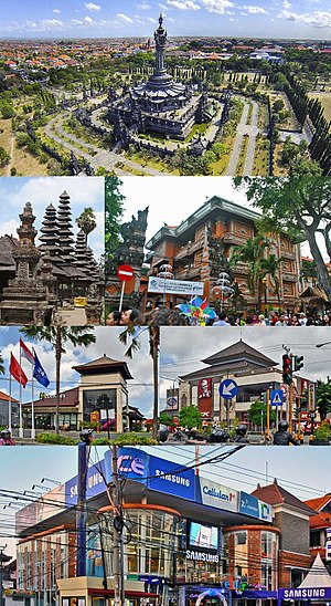 Denpasar - From top, left to right: