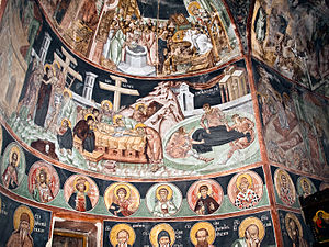 Poganovo Monastery - Frescoes from the Monastery church. From left to right: Descent from the Cross; Lamentation of Christ; Cutting of the empty Shroud; at the bottom heads of St Simeon Mirotočivi and Saint Sava, painted in all Serb monasteries