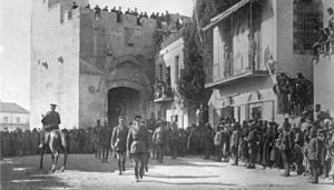 Edmund Allenby, 1st Viscount Allenby - The victorious General Allenby dismounted, enters Jerusalem on foot out of respect for the Holy City, 11 December 1917