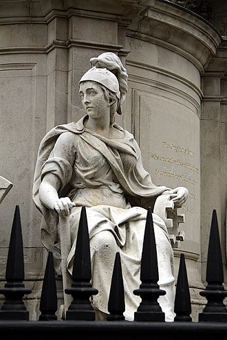 Statue of Queen Anne, St Paul's Churchyard - Image: Detail of Anne of Great Britain statue, St Paul's in spring 2013 (3)