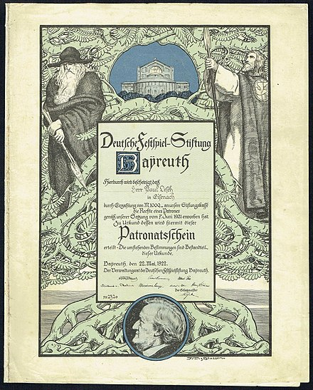 Patronage certificate for funding the Bayreuth festival, issued 22. May 1922 Deutsche Festspiel-Stiftung 1922.jpg