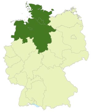 Oberliga Nord - Map of Germany:Position of the Oberliga Nord highlighted