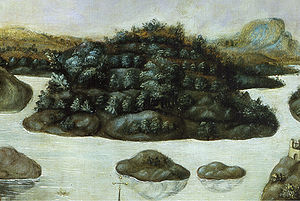 Djurgården - Detail from Vädersolstavlan showing Djurgården in 1535.