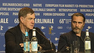 Gus Van Sant - Gus Van Sant and Joaquin Phoenix at the press conference of Don't Worry, He Won't Get Far on Foot. Berlinale 2018.