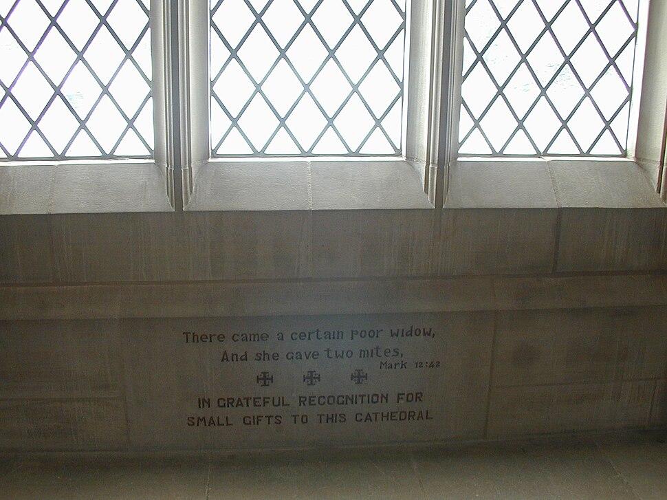 Donation thanks engraving The Washington National Cathedral