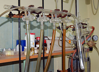 Schlenk line - A Schlenk line with four ports. The cold trap is on the right