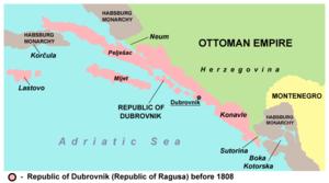 Pelješac - Pelješac within the Republic of Ragusa before 1808.