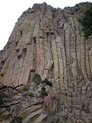 "Durrance Route - The route begins below and to the right of the two trees.  It then ascends the left side of the leaning pillar and continues up the most inset dihedral.  There are two possible finishes; a direct vertical finish, or a ""classic"" traverse to the right which involves leaping a gap."