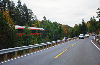European route E134 - Road E134 at Meheia in Kongsberg