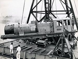 EAR 60 class - A 60 class locomotive being unloaded at Mombasa, Kenya, prior to entering service