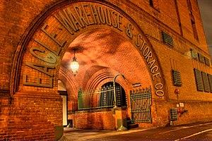 Eagle Warehouse & Storage Company -  The Eagle Warehouse main entrance at night
