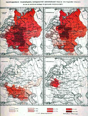 "All-Russian nation - Russian Empire Census of 1897 showing the ""Distribution of the principal nationalities of European Russia (in the native language)"" including Great Russian, Little Russian, Belarusian, and Russian 'in general'"
