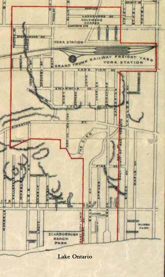 East Toronto - Map of East Toronto in 1908, just prior to being annexed to Toronto