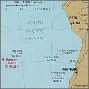 History of Easter Island - Location of Easter Island in the South Pacific Ocean